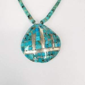 Turquoise Necklace Silver Shell Pendant